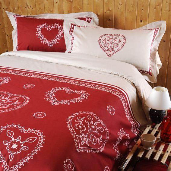 parure de draps 4 pi ces flanelle bussang rouge parure. Black Bedroom Furniture Sets. Home Design Ideas