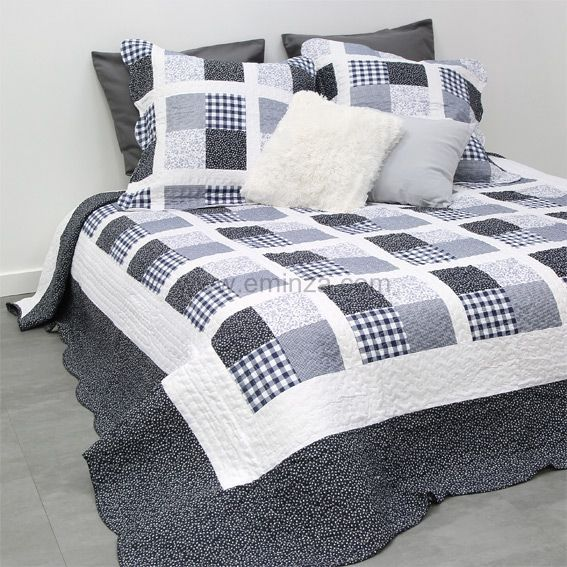 boutis et taies d 39 oreiller 220 x 240 cm hampshire bleu. Black Bedroom Furniture Sets. Home Design Ideas