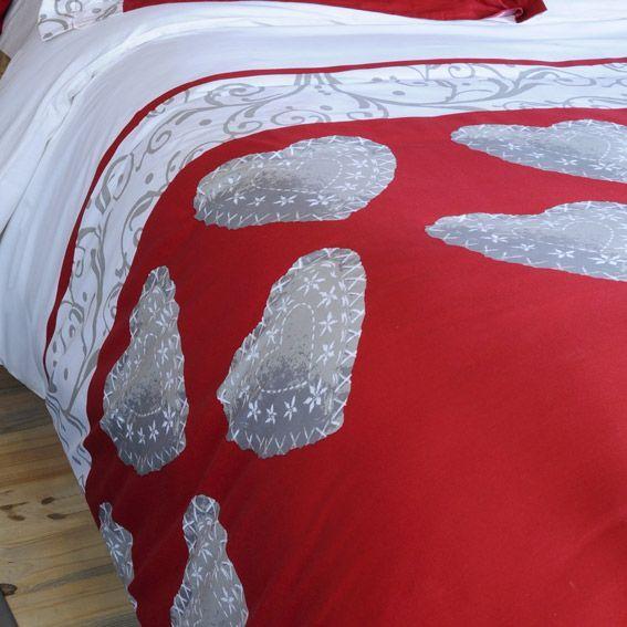 Housse de couette et deux taies 260 cm champex rouge - Housse de couette rouge et gris ...