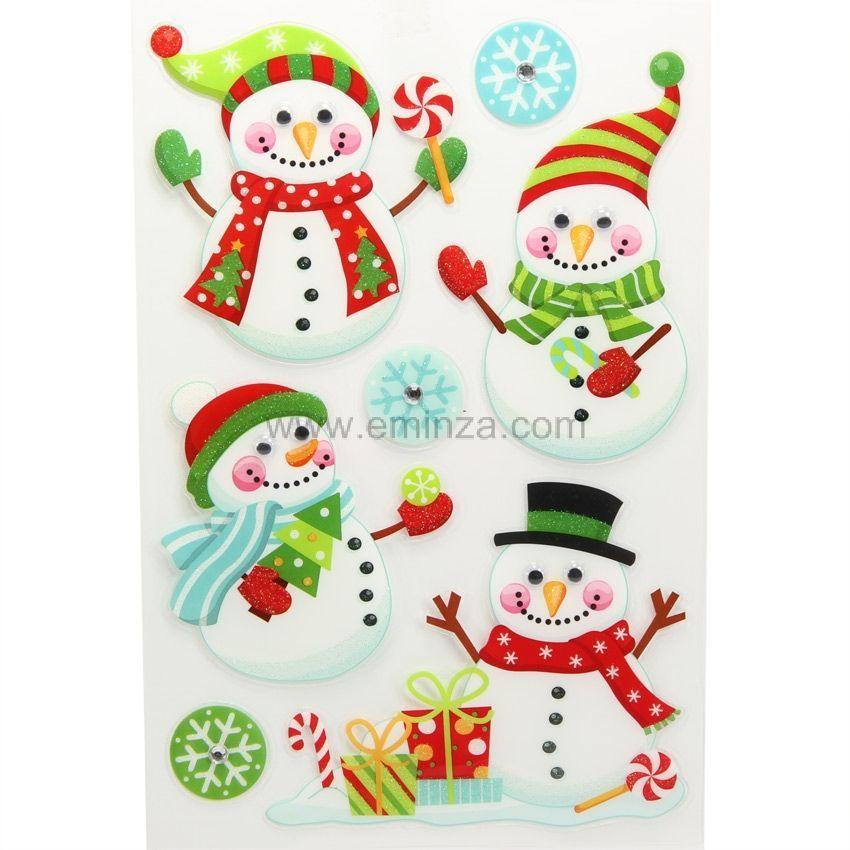 Stickers pour fen tre bonhomme de neige joyeux for Stickers pour fenetre