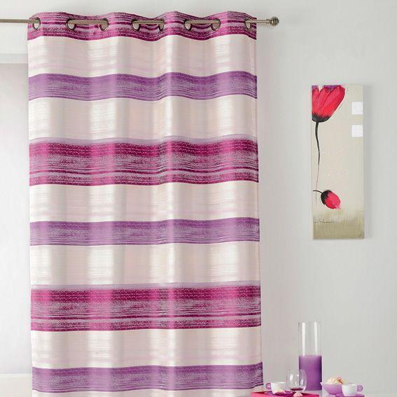 rideau 140 x h260 cm stripe fuchsia rideau tamisant eminza. Black Bedroom Furniture Sets. Home Design Ideas