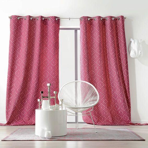 rideau 135 x h260 cm evita framboise rideau tamisant eminza. Black Bedroom Furniture Sets. Home Design Ideas