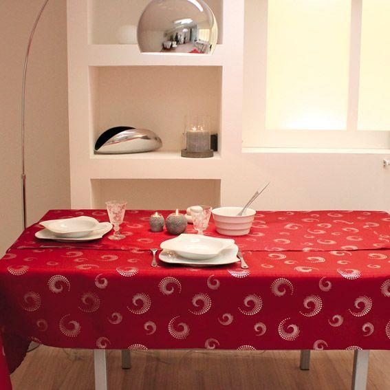 nappe rectangulaire l240 cm spirales rouge nappe de table eminza. Black Bedroom Furniture Sets. Home Design Ideas