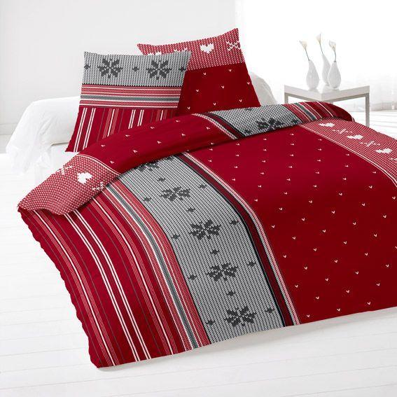 housse de couette et deux taies 240 cm flanelle avoriaz rouge housse de couette eminza. Black Bedroom Furniture Sets. Home Design Ideas