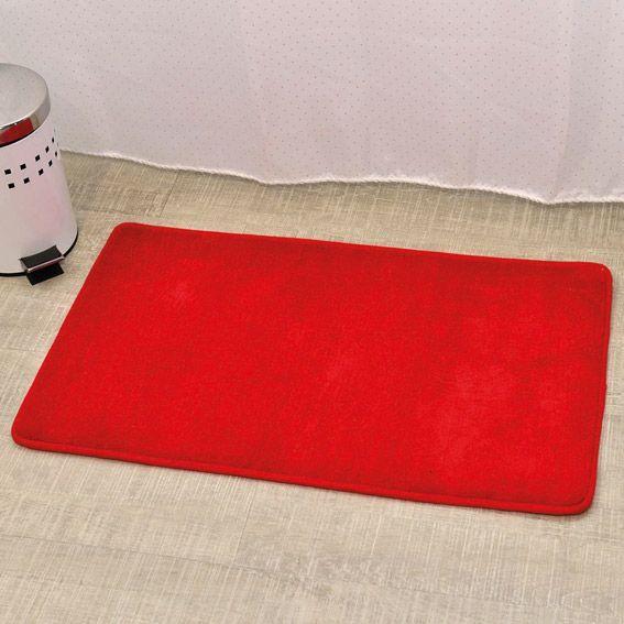 Tapis de bain microfibre simply rouge tapis salle de for Tapis salle de bain microfibre