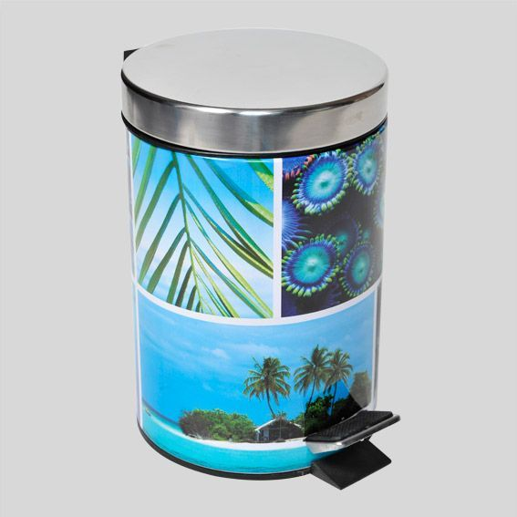 Poubelle p dale paradis bleu poubelle eminza for Poubelle de salle de bain bleu