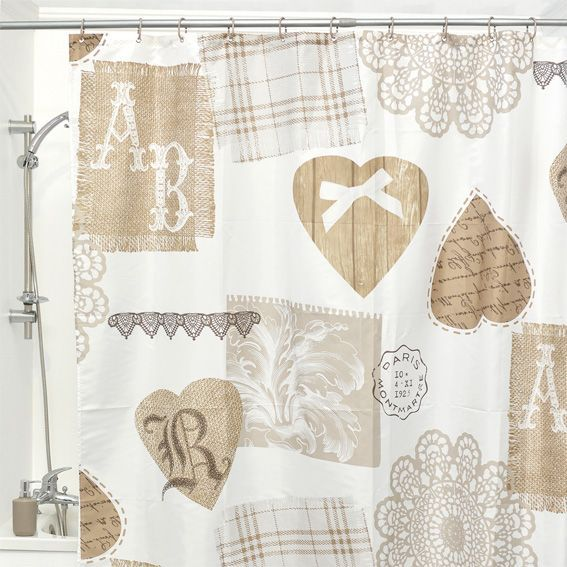 Rideau de douche cocoon sable premium rideau de douche eminza - Rideau de douche chic ...