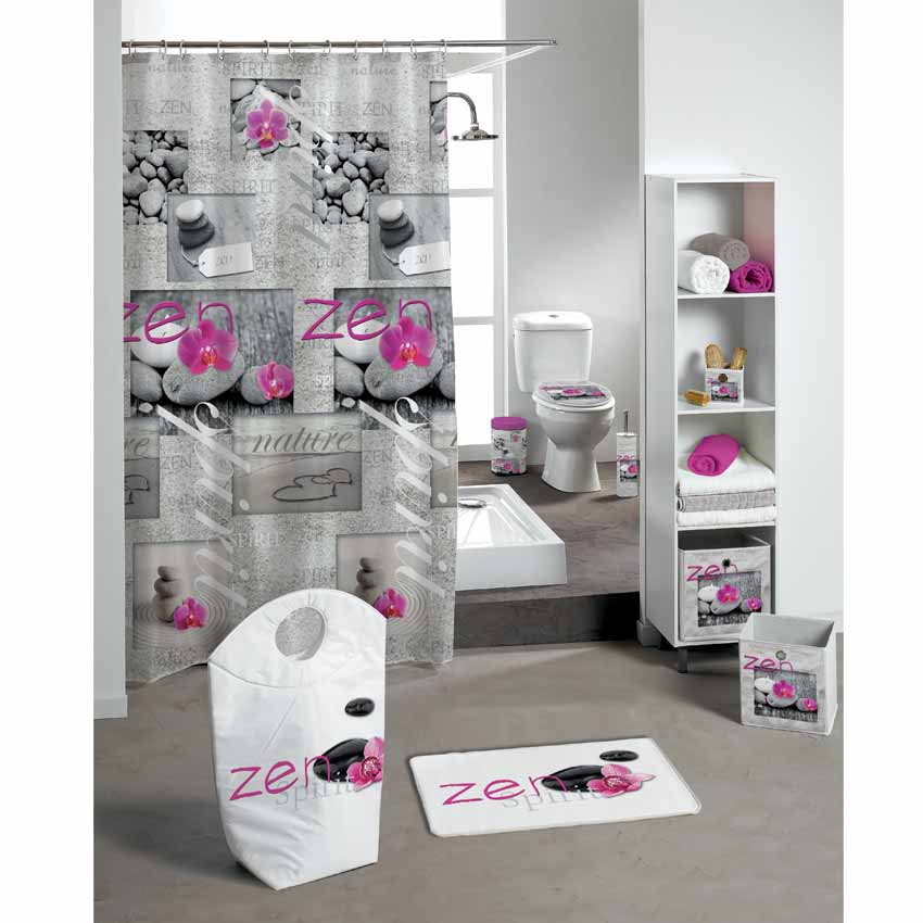 rideau de douche zen spirit rose premium rideau de douche eminza. Black Bedroom Furniture Sets. Home Design Ideas