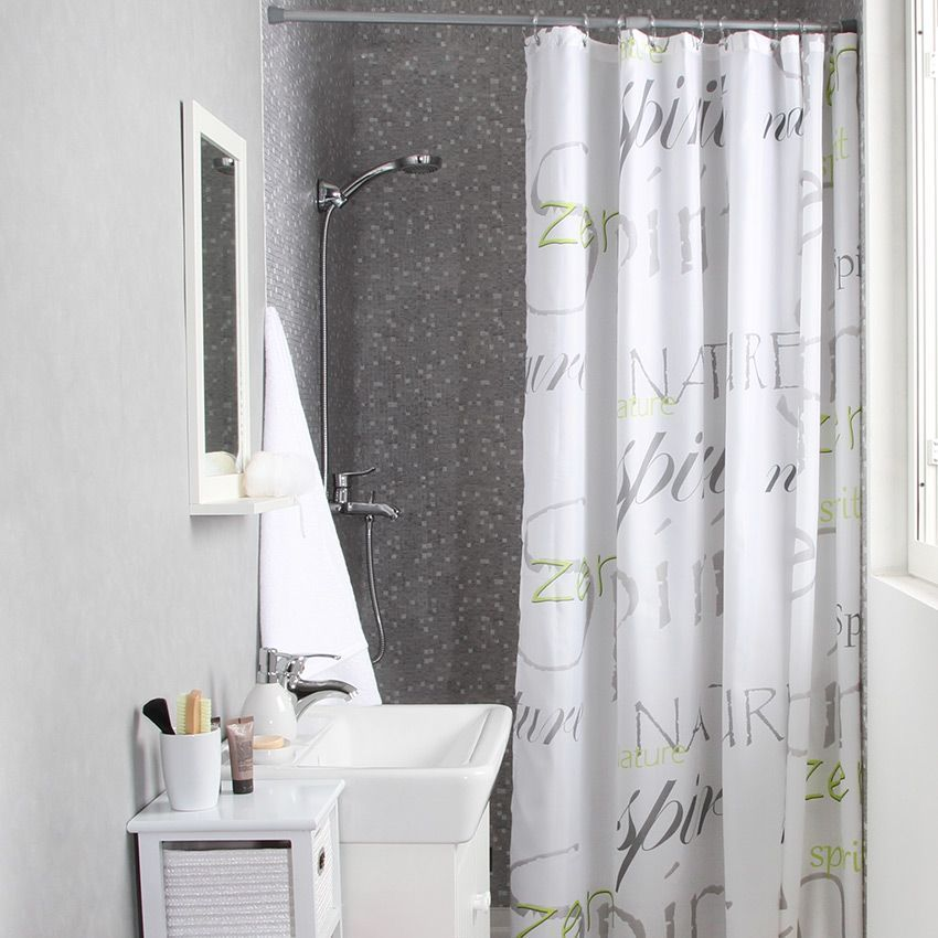 rideau de douche nature zen vert premium rideau de. Black Bedroom Furniture Sets. Home Design Ideas