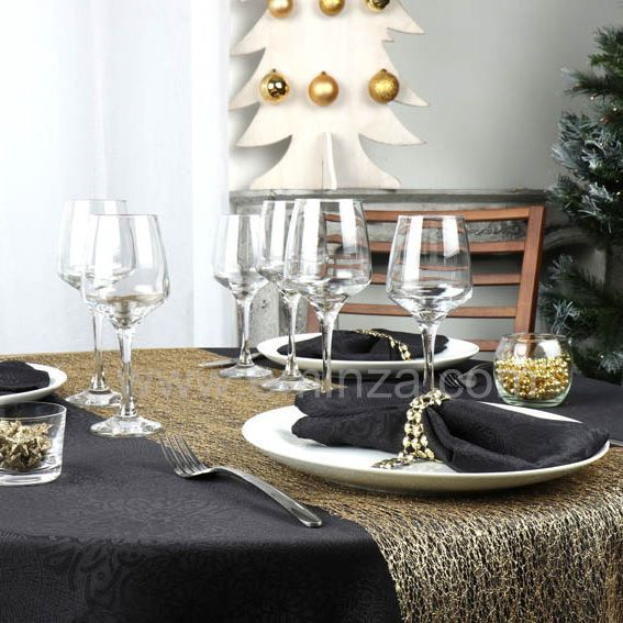 Chemin de table naturity dor linge de table eminza for Chemin de table dore