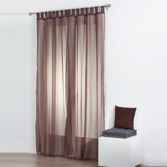 lot de 2 voilages 140 x h240 cm uni taupe voilage eminza. Black Bedroom Furniture Sets. Home Design Ideas
