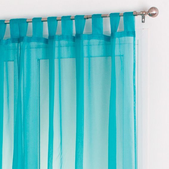 lot de 2 voilages 140 x h240 cm uni turquoise voilage eminza. Black Bedroom Furniture Sets. Home Design Ideas