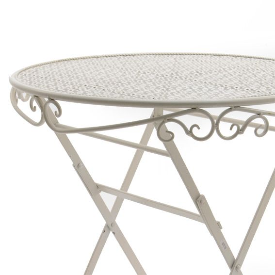 Table de jardin lucy style fer forg d60 cm blanc table de jardin eminza - Table fer forge blanc ...