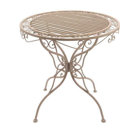 Table ronde louise style fer forg taupe table de jardin for Salon de jardin en metal de couleur