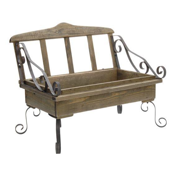 banc d coratif style fer forg et bois naturel objet de d coration eminza. Black Bedroom Furniture Sets. Home Design Ideas