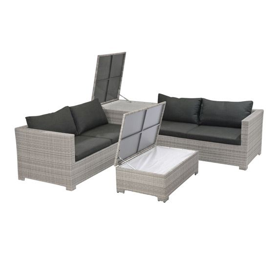 salon de jardin trapani taupe clair 4 places salon de. Black Bedroom Furniture Sets. Home Design Ideas