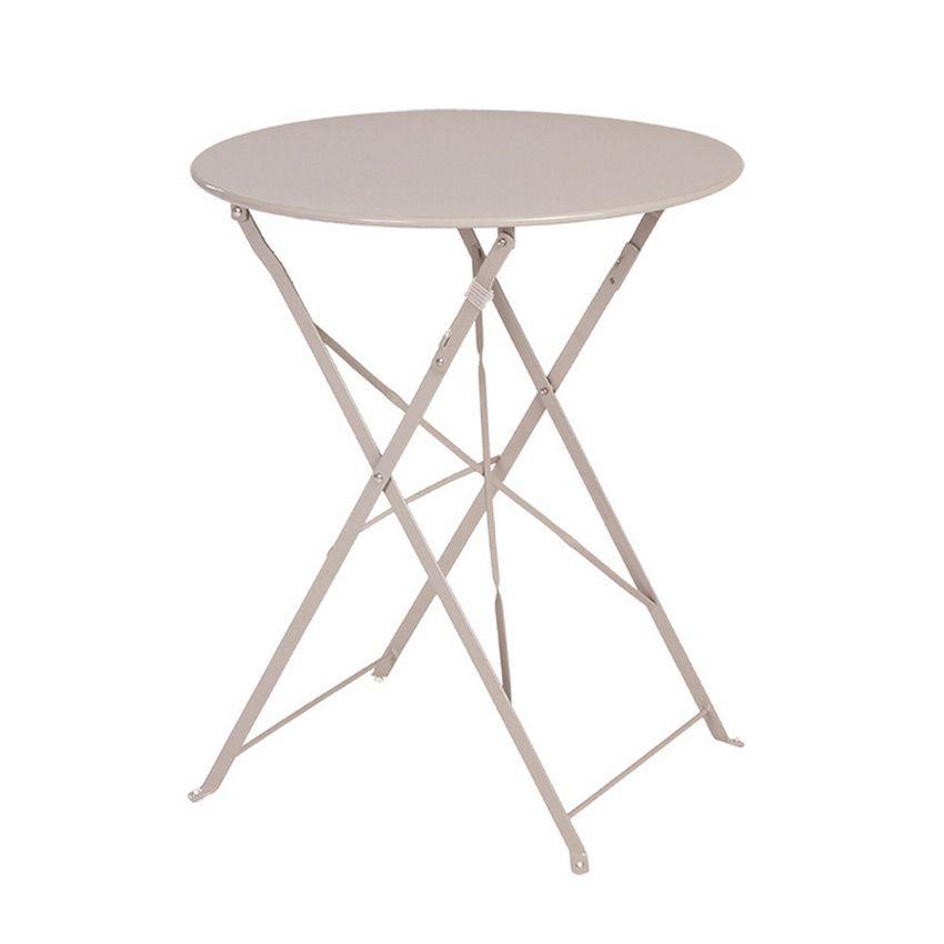 table de jardin ronde pliante m tal camargue d60 cm taupe table de jardin eminza. Black Bedroom Furniture Sets. Home Design Ideas