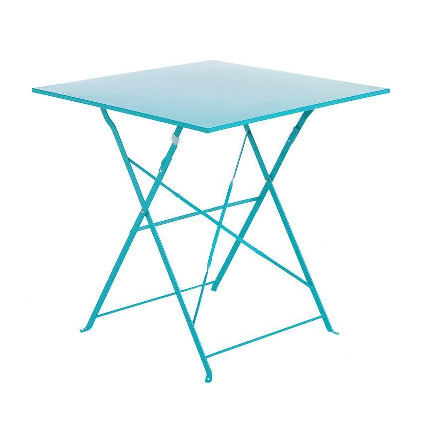 Table de jardin pliante m tal camargue 70 x 70 cm for Table 70 cm de large