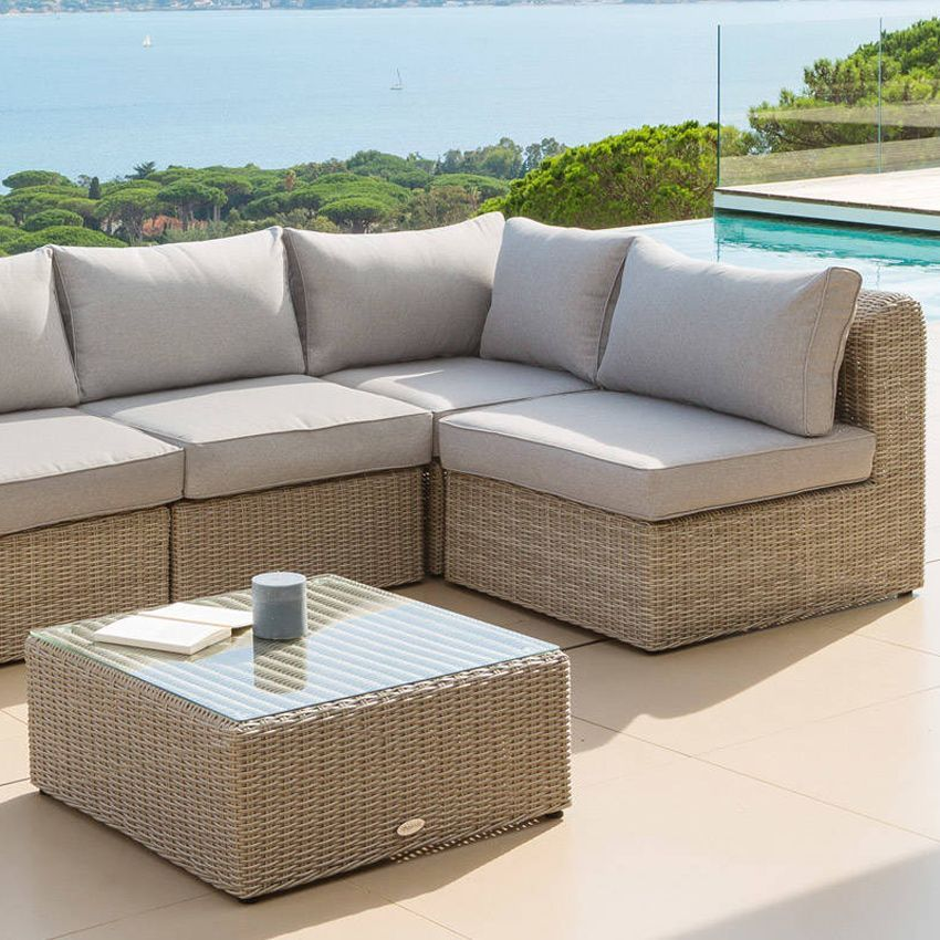 fauteuil d 39 angle de jardin libertad sable gris clair. Black Bedroom Furniture Sets. Home Design Ideas