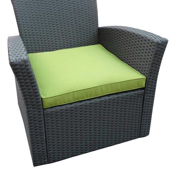 Coussin de fauteuil ibiza vert salon de jardin d tente - Coussins de fauteuil de jardin ...