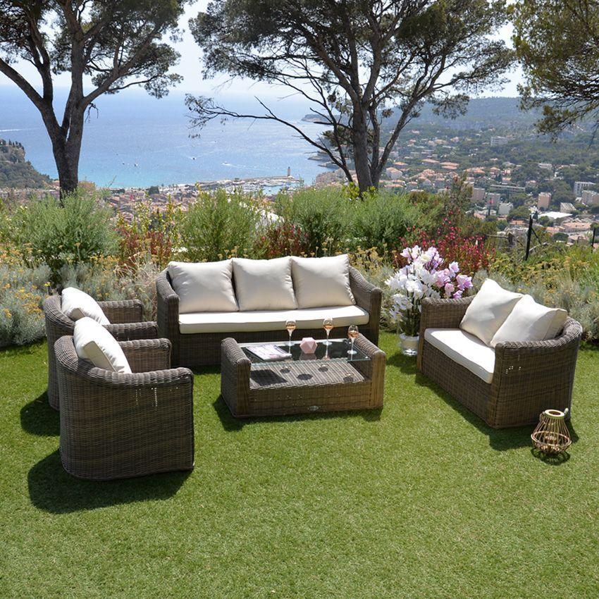 Fauteuil de jardin capri sepia ecru salon de jardin - Fauteuil detente jardin ...