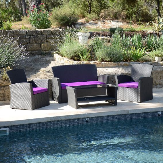 salon de jardin ibiza anthracite et violet 4 places salon de jardin eminza. Black Bedroom Furniture Sets. Home Design Ideas