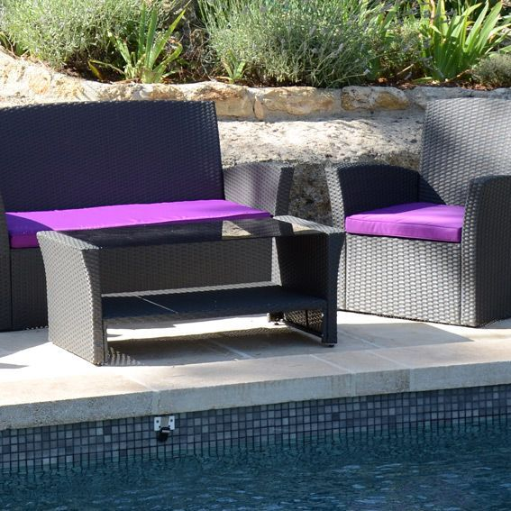 Salon de jardin ibiza anthracite et violet 4 places Salon de jardin violet