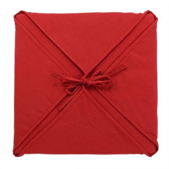 Galette de chaise carr e gamme panama rouge galette et for Galette de chaise avec rabat