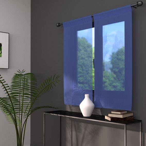 paire de voilage 90 x h90 cm classico bleu ciel rideau et voilage eminza. Black Bedroom Furniture Sets. Home Design Ideas