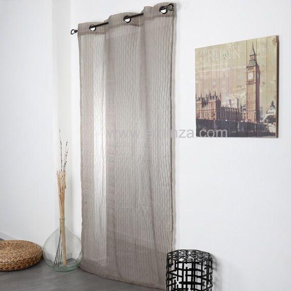 voilage 140 x h250 cm boh me taupe voilage eminza. Black Bedroom Furniture Sets. Home Design Ideas