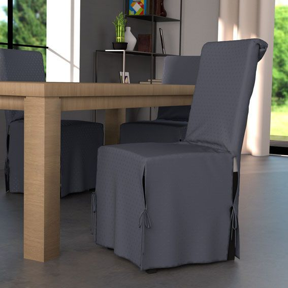 Housse de chaise palermo gris anthracite housse de - Housse de chaise grise ...