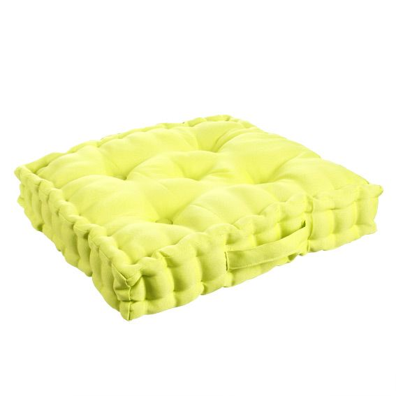 coussin de sol 40 cm vert anis coussin de sol et pouf eminza. Black Bedroom Furniture Sets. Home Design Ideas