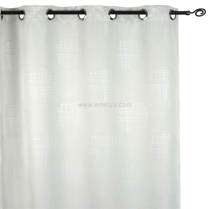 rideau occultant 135 x h260 cm cercle blanc gris. Black Bedroom Furniture Sets. Home Design Ideas
