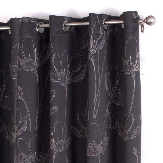 rideau occultant 140 x h260 cm fleur noir rideau occultant eminza. Black Bedroom Furniture Sets. Home Design Ideas