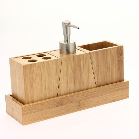 Kit d'accessoires de salle de bain Bois Salle de bain Eminza # Accessoire Salle De Bain Bois