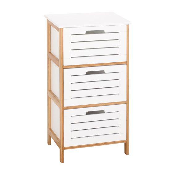 Commode de salle de bain bambou blanc meuble bas eminza for Commode rangement salle de bain