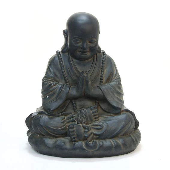 Bouddha assis anthracite fontaine et bouddha eminza for Decoration jardin bouddha