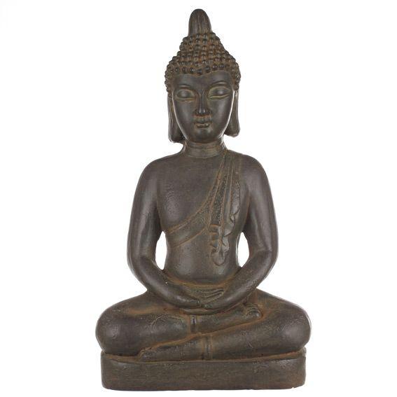 Bouddha en m ditation anthracite fontaine et bouddha for Bouddha deco exterieur