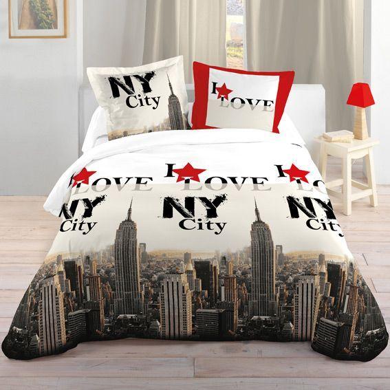 Housse de couette et deux taies 240 cm i love ny city for Housse de couette new york 1 place