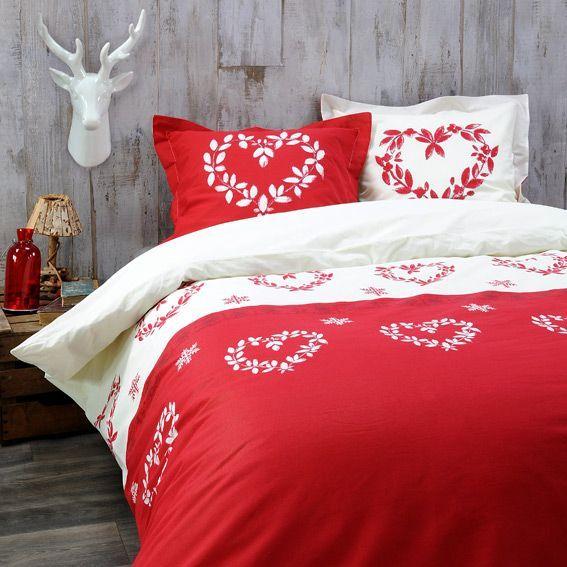 housse de couette et deux taies 240 cm valais rouge housse de couette eminza. Black Bedroom Furniture Sets. Home Design Ideas