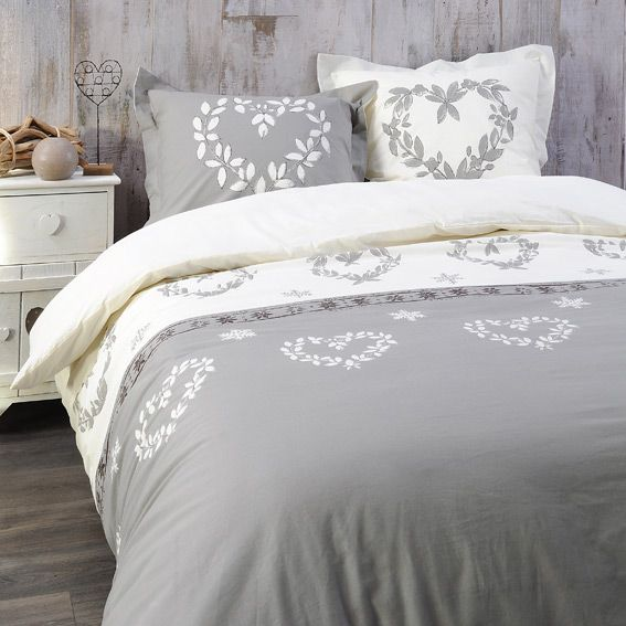 housse de couette et deux taies 260 cm valais taupe. Black Bedroom Furniture Sets. Home Design Ideas