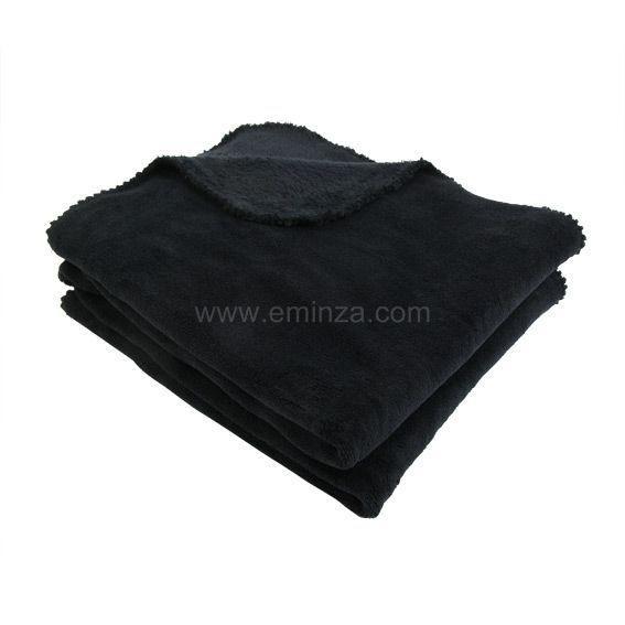 plaid polaire louna noir plaid cocooning eminza. Black Bedroom Furniture Sets. Home Design Ideas
