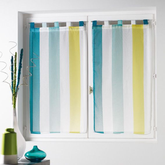 paire de voilages 60 x h120 cm riviera blanc bleu voilage vitrage eminza