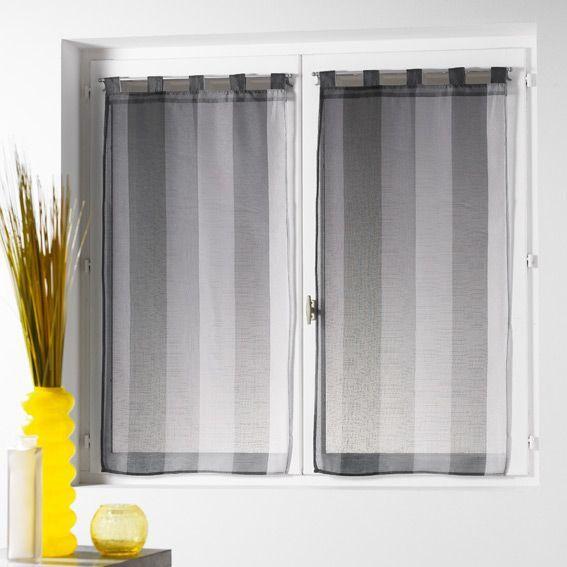 paire de voilages 60 x h120 cm riviera anthracite rideau et voilage eminza. Black Bedroom Furniture Sets. Home Design Ideas