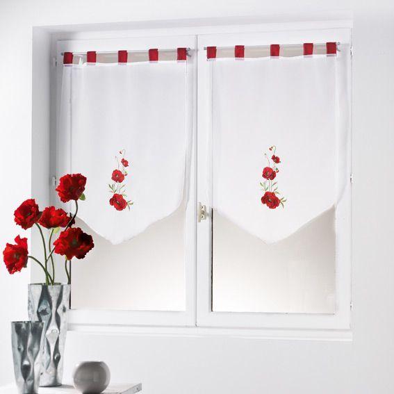 Paire de voilage 60 x h90 cm eline rouge rideau et for Voilage cuisine 60 x 90