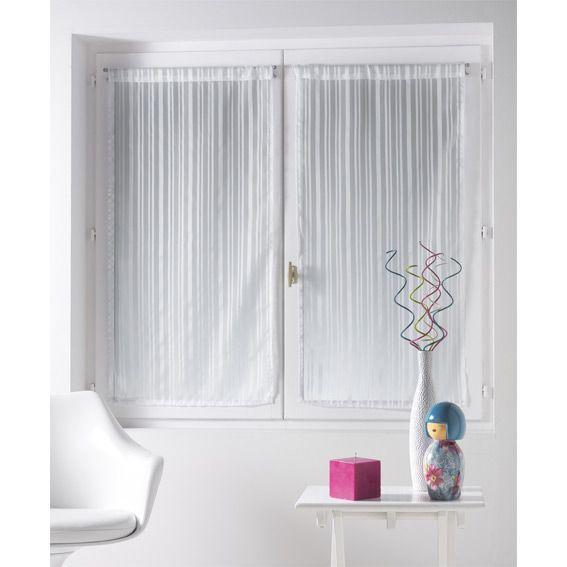 Paire de voilages 60 x h90 cm clarity blanc voilage for Rideaux cuisine 60 x 90
