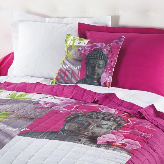 couvre lit 240 x 220 cm matelass douceur zen fuchsia. Black Bedroom Furniture Sets. Home Design Ideas