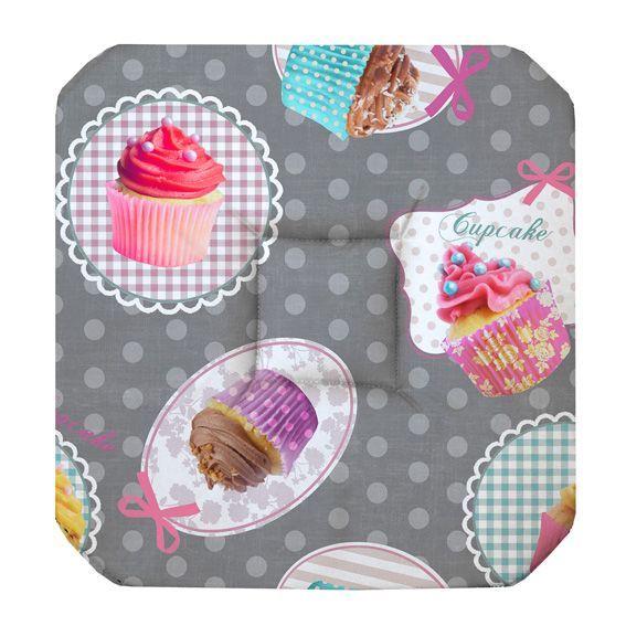 Galette de chaise carr e cupcake gris galette et coussin for Galette de chaise avec rabat