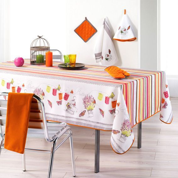 nappe rectangulaire l240 cm guinguette orange nappe de. Black Bedroom Furniture Sets. Home Design Ideas