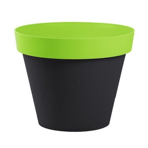 Pot toscane style en pvc anthracite vert decoration - Pot en plastique jardin ...